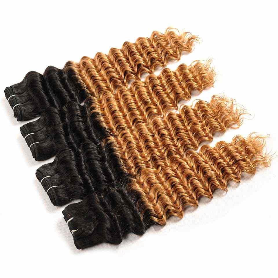Pinshair перуанские глубокие волнистые человеческие волосы пучки волос от светлого до темного цвета с закрытием блонд 1B 27 человеческие волосы 4 пучка с закрытием не реми волосы