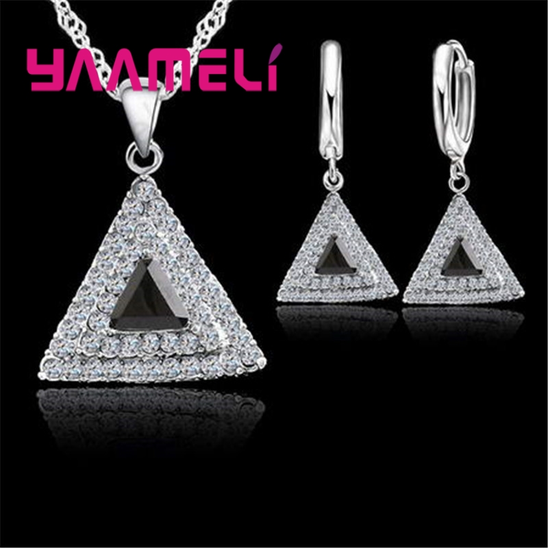 YAAMELI Necklace Earrings Set Simple Style Geometric Pattern Triangle Shape   BlackPinkWhiteBlue For Women Lady Appointment