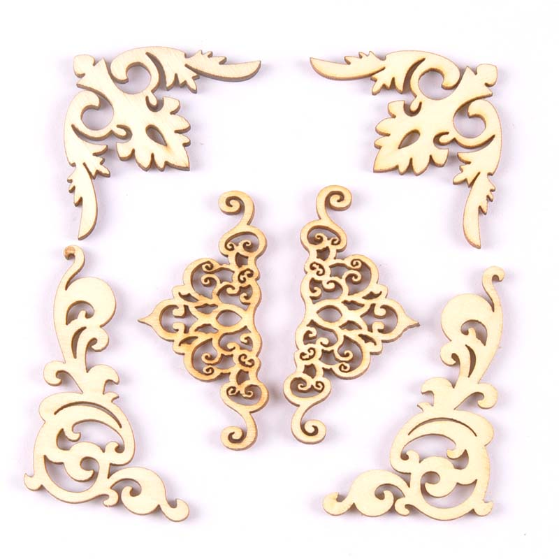 2018 New 20pcs Flower Lace Pattern Wood Crafts Book Corner Handmade Scrapbooking Album Corners Decorative Diy Craft 8cm MT1835