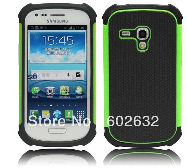 1pcs free shipping 3in1 Ball line PC+Silicon back cover case for Samsung i8190 Galaxy S3 III mini+1pcs film