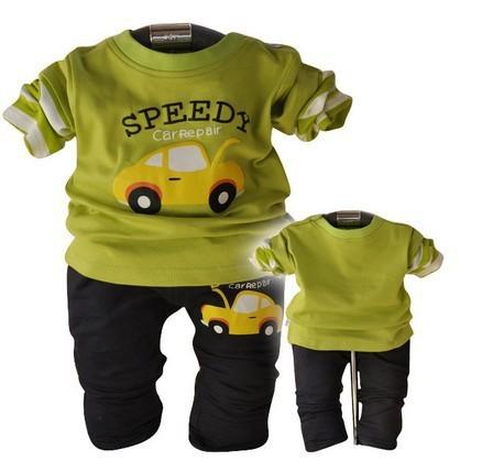 Kindstraum nueva manga larga del bebé de la ropa cartoon Car lámina de los juegos de la primavera de la camiseta + pantalones twinsets para infantil, C348