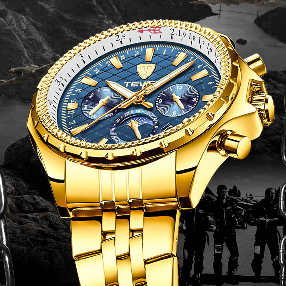 Relogio Dourado Masculino Top Brand Luxury Fashion Men Watch Business Automatic Mechanical Watches Waterproof Male Clock TeviseRelogio Dourado Masculino Top Brand Luxury Fashion Men Watch Business Automatic Mechanical Watches Waterproof Male Clock Tevise