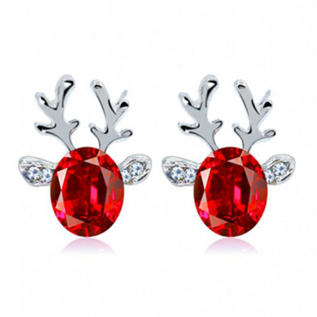 Accessorie Crystal  Earrings luxury three-dimensional Christmas reindeer antler Gift Reindeer Stud Ear rings Jewelry @40