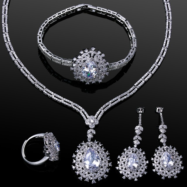 4pcs sets luxury jewelry sets for brides white gold color cubic zirconia wedding jewelry parure bijoux - Cubic Zirconia Wedding Ring Sets