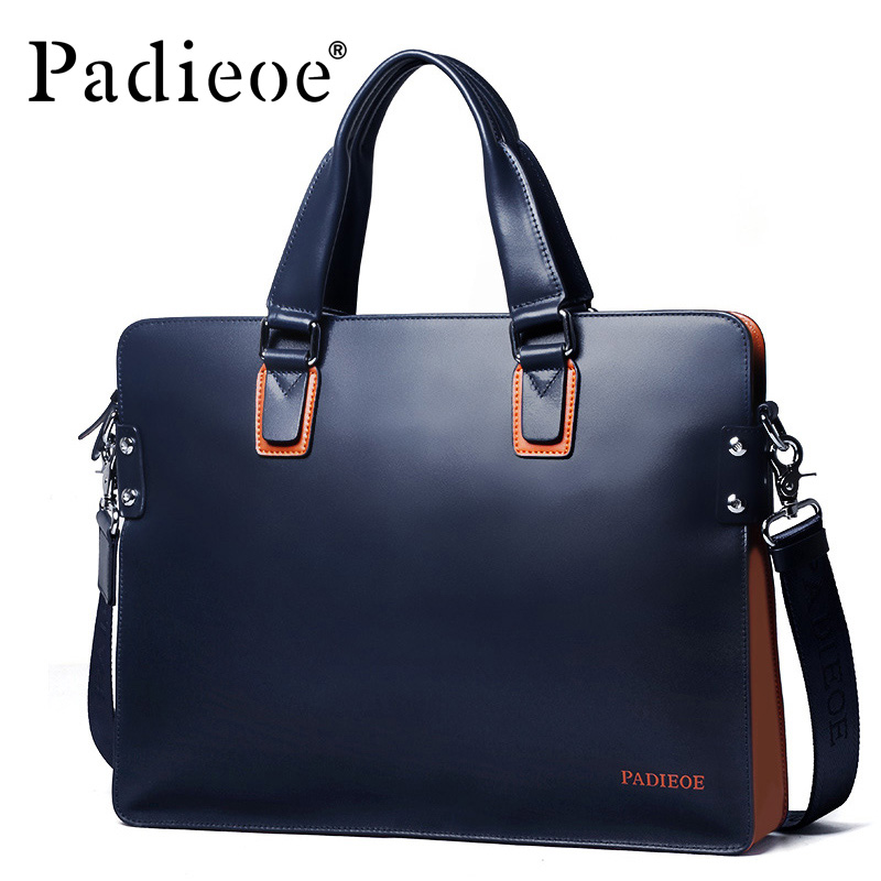 Padieoe Fashion Genuine Leather Bag Business Men Messenger Bags Luxury Brand Men Briefcases Designer Male Laptop Handbag padieoe fashion luxury designer brand men bag genuine leather handbag business male shoulder messenger bags