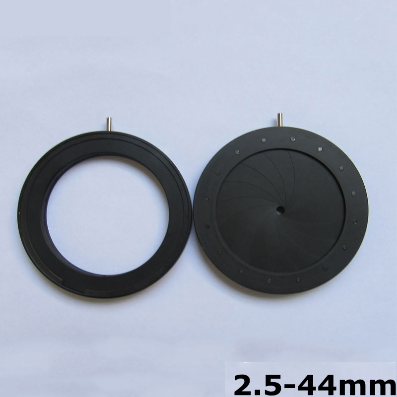 Enlarge 2.5-44mm Aperture Diameter Zoom Iris Diaphragm Aperture Condenser for Microscope Camera Lens Optical Instrument 16 Blade optical iris diaphragm 0 3 6mm manual adjustable aperture condenser for laser camera microscope
