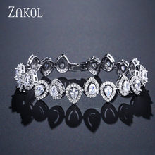 ZAKOL Luxury Water Drop Chain Link Bracelet for Women Ladies Shining AAA Cubic Zircon Crystal Jewelry Gift FSBP2033(China)