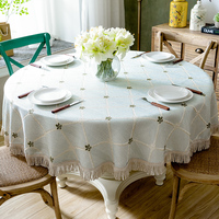 Luxury Table Cloth Round Table Cover Leaves Embroidered Wedding Party Home Tablecloth Cotton Linen Tablecloths with Tassel