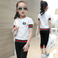 2017 Summer Kids Girls Clothes Children Clothing Set Fashion Striped T shirt+ Capris Two-Piece Sport Suits 4 Colors,Age 3-15Y