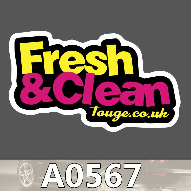 Bevle A0567 Fresh & Clean Waterproof Sticker for Cars Laptop Luggage Skateboard Graffiti Cartoon Notebook Stickers