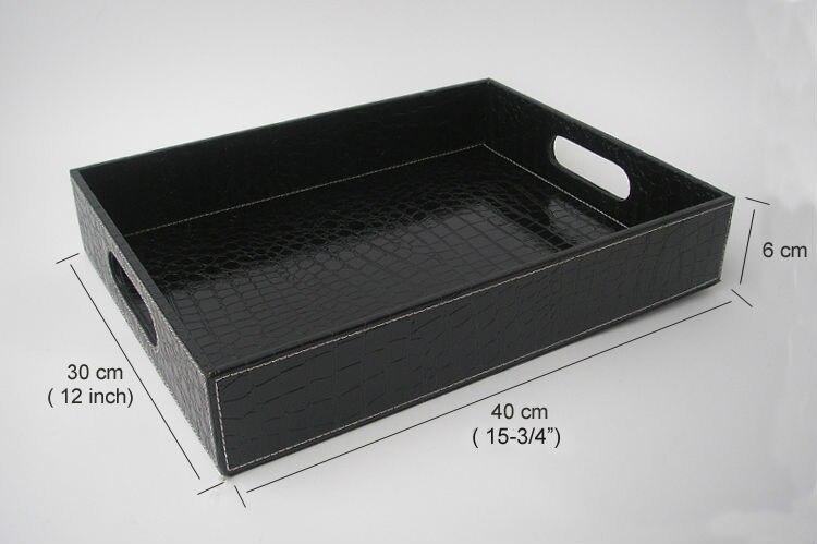 Plateau de service en cuir noir | croco rectangle, plateaux bandejas pour la vaisselle, fruits collations stockage avec poignée découpée 40x30cm - 3