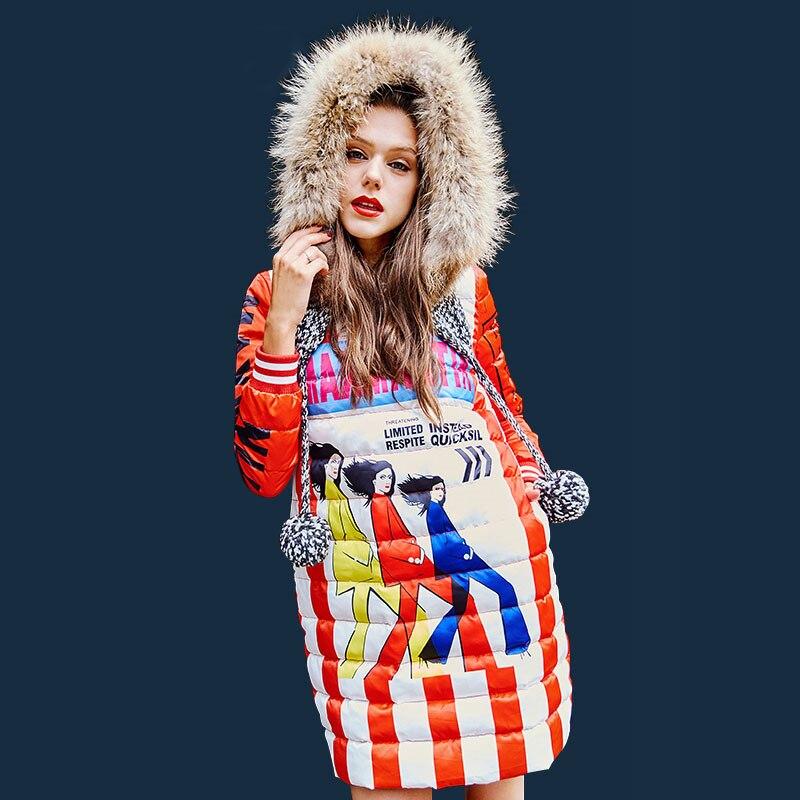 Blanc Hiver Impression De À Femelle Tricoté Chaud Bas Dessin Coupe Pulls Capuchon Mode Femmes Yp1630 Duvet Col Le Veste Animé Shown Vers vent Canard Fourrure As T1ulF3KJc