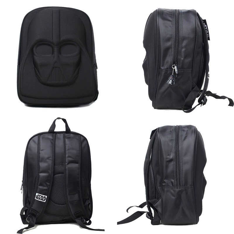 star wars darth vader school backpack in four different views