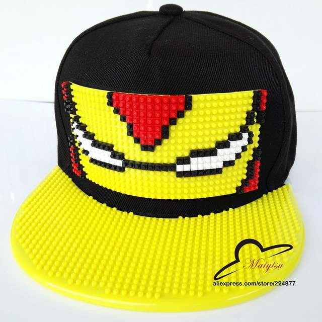 Fashion Cartoon Mosaics Brick Building blocks Iron Man Baseball Cap Flat-brimmed  Hat Hip- d5394e0226c6