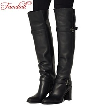 2017 fashion winter warm fur women knee high boots black soft leather fashion new female thick high heels boots shoes plus size