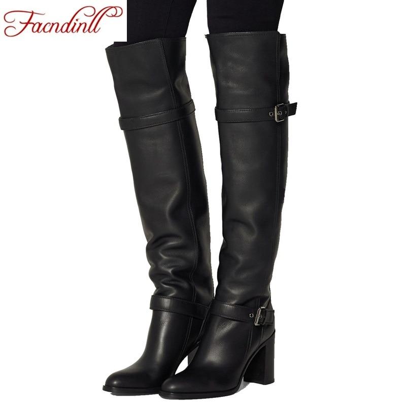 2018 fashion winter warm fur women knee high boots black soft leather fashion new female thick