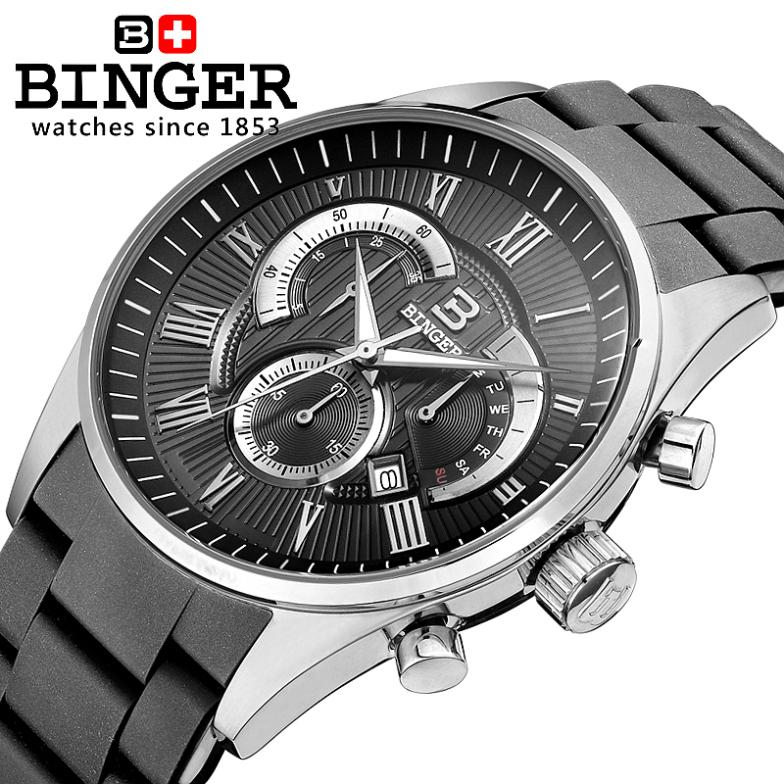 Switzerland Relogio Masculino Luxury Brand Wristwatches BINGER Quartz Silicone strap Chronograph Diver Male clock BG-0407-3 moers 3tm relogio mj8010 3