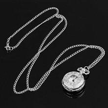YCYS! Silver Pocket Watch Necklace Chain Quartz Ancient