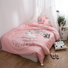 Pink Gray Cute Cartoon Unicorn Embroidery  60S Egyptian Cotton Child Bedding Set Duvet Cover Bed Linen Fitted Sheet Pillowcases