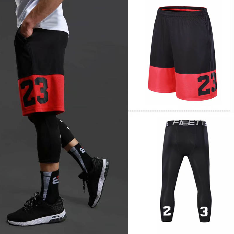 New Sport Men Basketball Shorts Professional Running Training Shorts Loose Breathable Tight Training Suit Jogging Shorts Sets