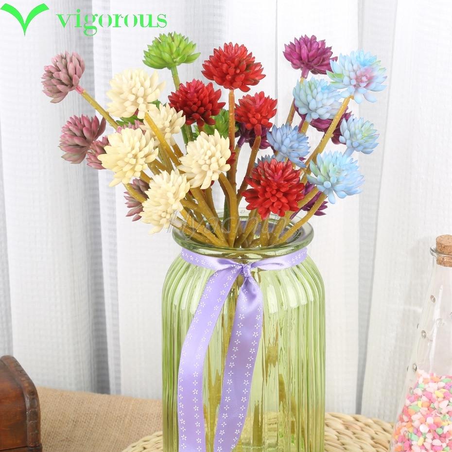 NUEVAS plantas Artificiales 6 cabeza de loto de piedra accesorios para el hogar decoración suculentas flores de plástico de flores de seda para el otoño