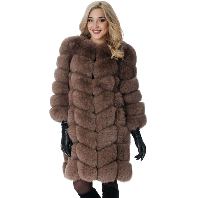 97ab61a5d9cc9 New Medium Long Fake Fox Fur Jacket Women Winter Faux Fox Fur Jackets Woman  Warm Artifical