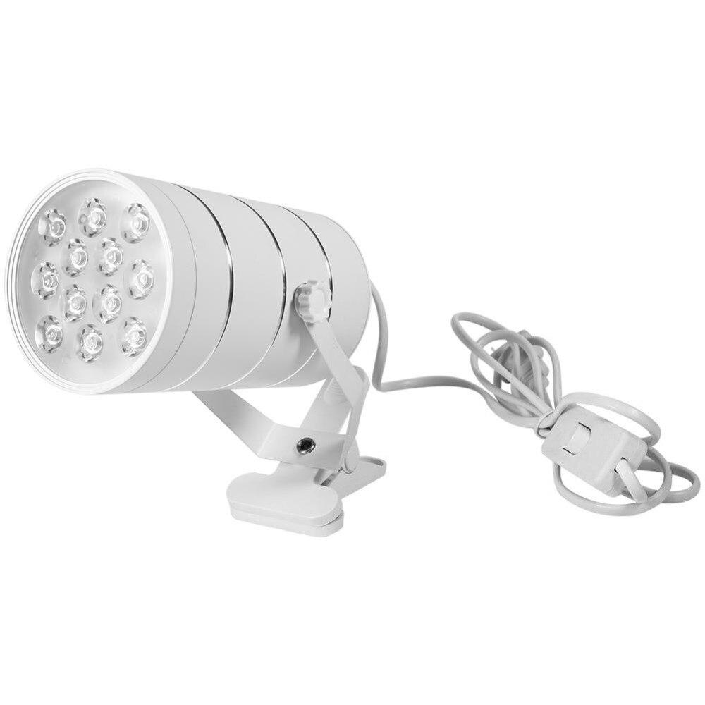 220V White 12Pcs LED Plant Grow Indoor Adjustble Growth Lamp with Clamp White Black 12LED