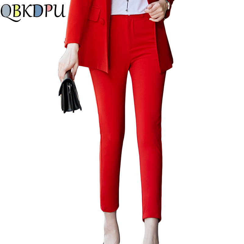 New Casual Cotton Ankle-Length Pants For Women High Quality Straight Trousers Mid Waist Slim Trousers Ladies Red Plus Size 4XL