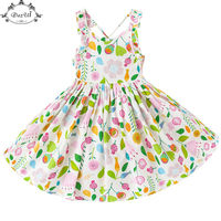 Floral Girls Dress Sleeveless Cotton Easter Kids Outfit Twirling Dress Toddler Girls Clothing 1 10years Girls