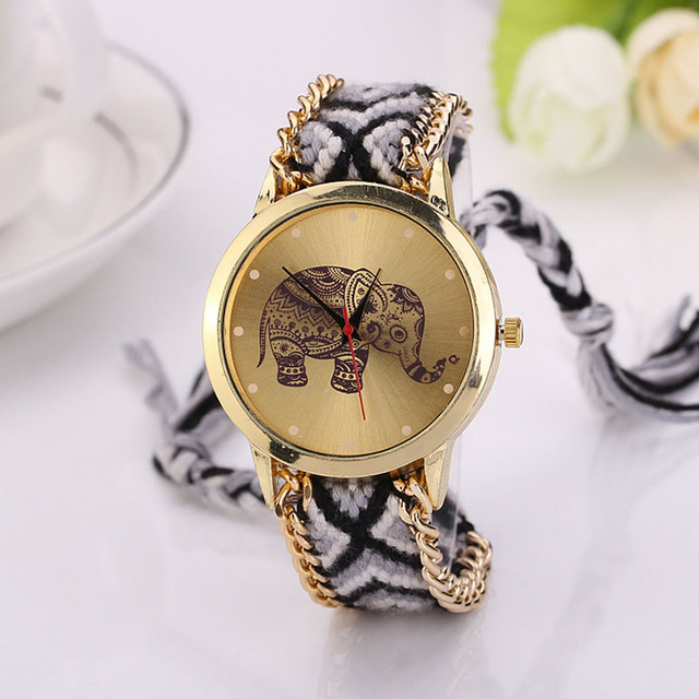 Splendid Women Elephant Pattern Weaved Rope Band Bracelet Quartz Dial Wrist Watc