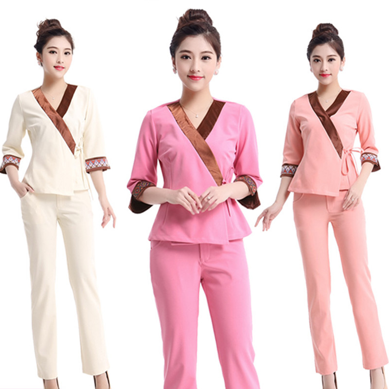 2016 free shipping brand new pink graceful women scrub set for Spa uniform policy