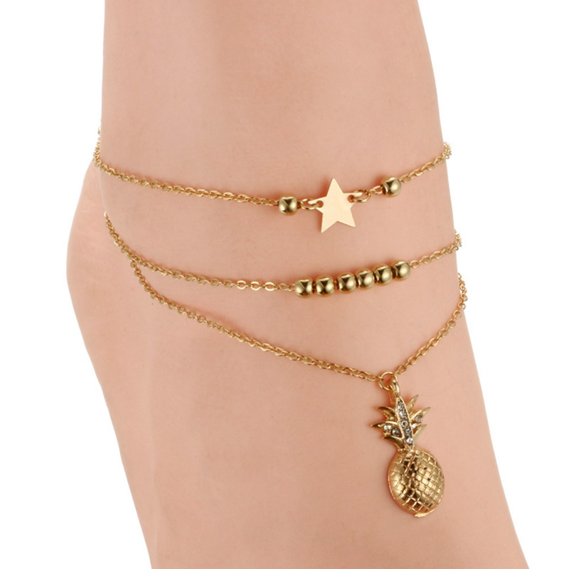 Fashion Jewelry Generous Fashion Gold Crystal Chain Anklet Bracelet Barefoot Sandal Beach Foot Jewelry Reliable Performance Jewelry & Watches