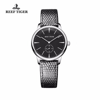 Reef Tiger/RT Casual Couple Watches Simple Style Quartz Watches for Women Ultra Thin Stainless Steel Black Dial Watch RGA820 2