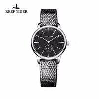 Риф Тигр/RT Повседневное пару часов простой Стиль кварцевые часы для Для женщин ультра тонкий Нержавеющаясталь черный циферблат часы RGA820