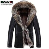 VSD 2018 новые зимние Искусственная Кожа Мужская куртка досуг Бизнес человек теплое толстое пальто длинные Стиль Кожаные куртки и шляпа пальто