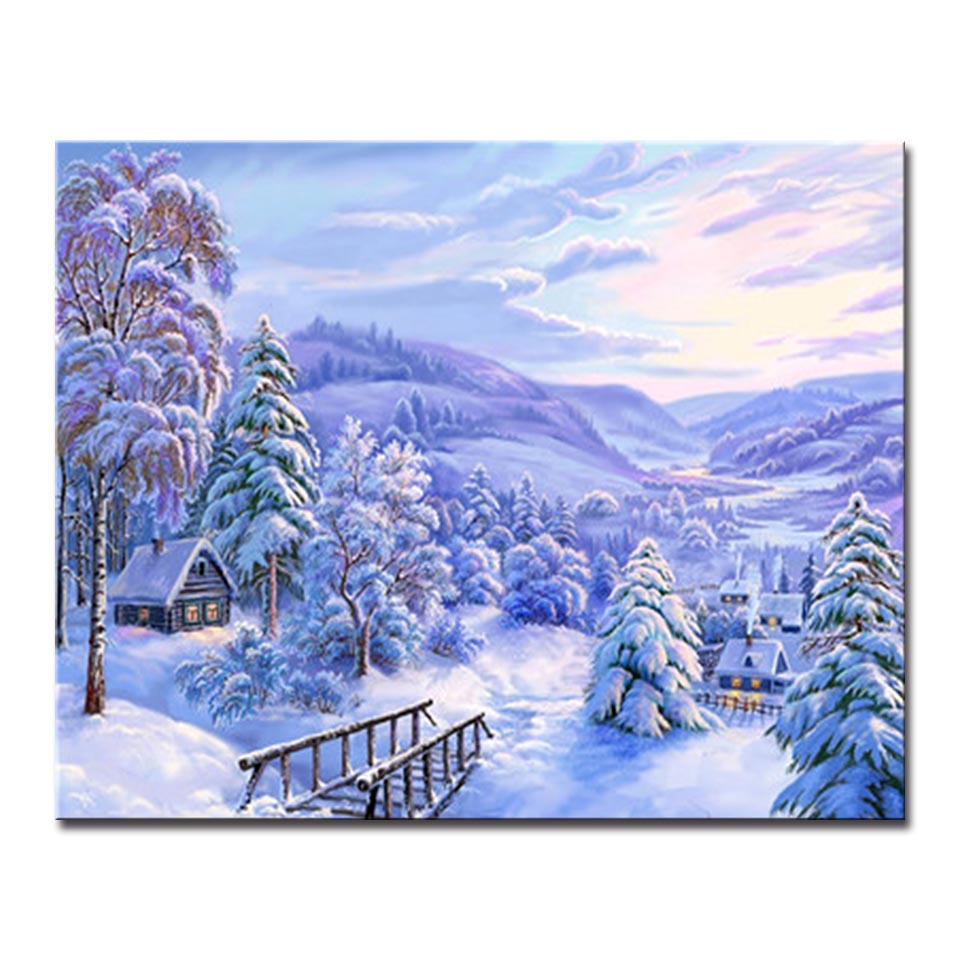 Winter Forest House Building