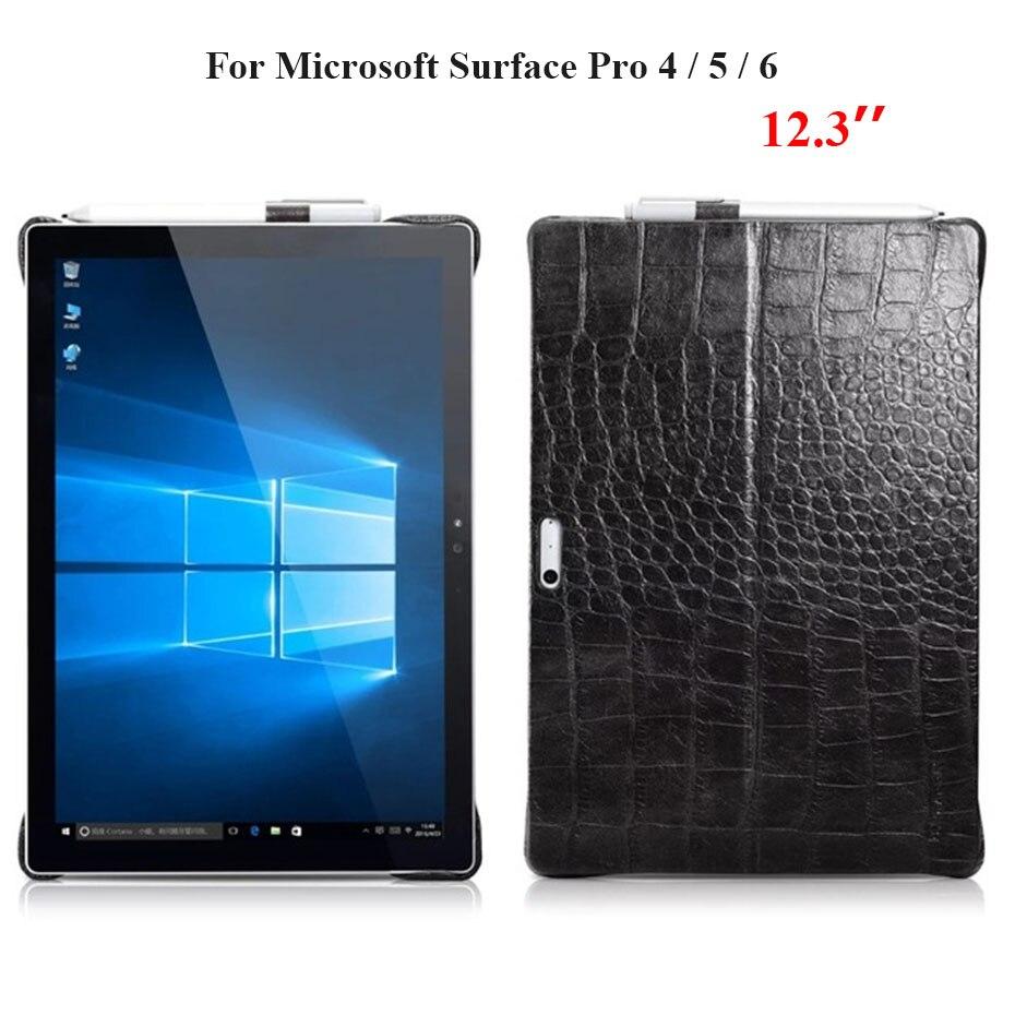 Pour Microsoft Surface Pro 4 5 6 couverture arrière en cuir de vachette véritable pour nouvelle Surface Pro 6 Pro5 étui pour tablette en cire d'huile de Crocodile