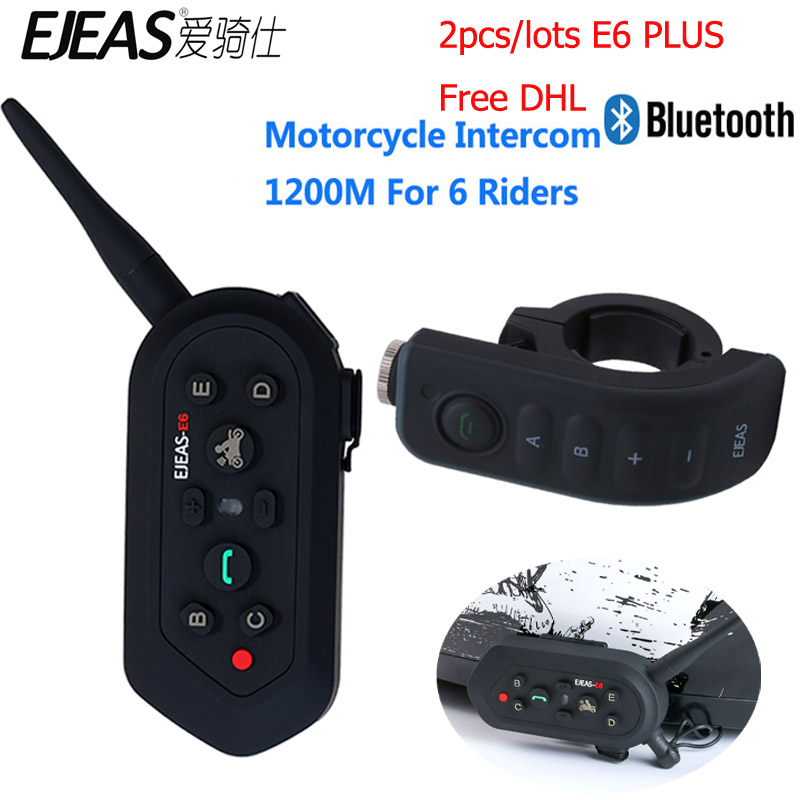Free DHL EJEAS E6 Plus Motorcycles Bluetooth Headset Remote Control 6 Riders 1200M Voice Trigger Communicator Helmet Interphone