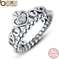 925 Sterling Silver My Princess Queen Crown Stackable Ring With Clear CZ Authentic Jewelry PA7110