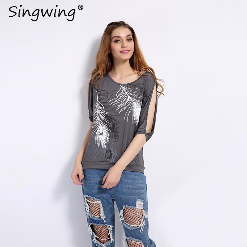 HTB1NAo5RVXXXXcVXFXXq6xXFXXX9 - Summer Women Feather Printed T-shirts O- neck Strapless Shirts Off Shoulder