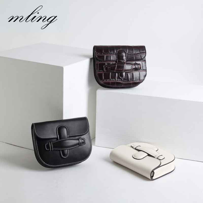 Designer Crocodile Leather Saddle Bag Semicircular Luxury Handbags Women Retro Ladies Messenger Bags Simple Solid Shoulder B