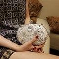 O best selling 1 pc Flor do Sol de Seda sacos De Embreagem com lidar com Diamantes cravejado Ferrolho alta qualidade Dia embreagens sacos de Noite Da Senhora