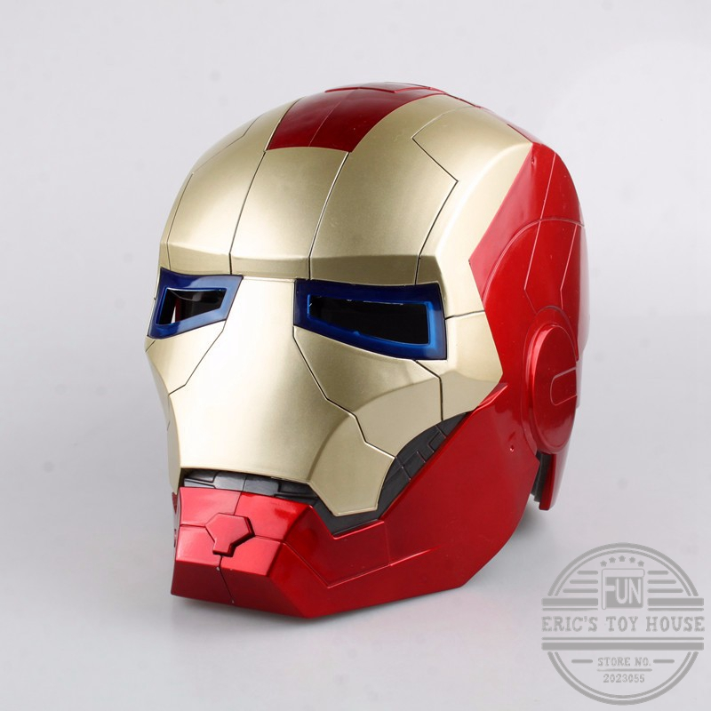 Avengers Movie Figure Iron Man Motorcycle Helmet Mask Tony Stark Mark 7 Cosplay Mask with LED Light Collection Model Toy New 2017 new cartoon mask the avengers superhero led iron man mask action figure model toys halloween cosplay gift for adult