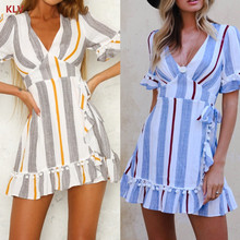 купить KLV Women V-Neck Striped Short Sleeve Mini T-Shirt Dress Ruffle Hem A-Line Fashion по цене 533.36 рублей