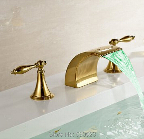 Newly Golden Polish Arc Spout Bathtub Faucet Color Changing LED Waterfall Mixer Tap Dual Handles Deck Mount