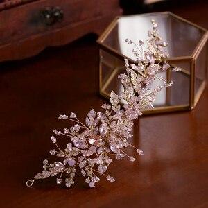 Image 5 - Baroque Pink/Black Rhinestone Wedding Barrettes Soft Bridal Hairbands Wedding Hair Accessory Prom Headdress
