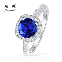 Silverwill dark blue halo engagement ring 1.5ct big stone rings stackable fine silver 925 jewelry for women cushion cut stone