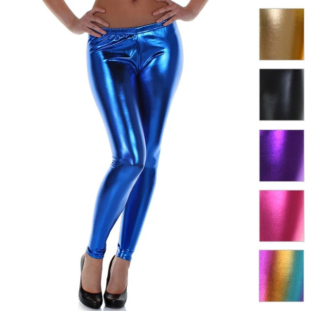 Black Sexy Shiny Vinyl Pants for Women Pole Dance Pants Spandex Latex Leggings Ankle Length Leather Pants Legging for Women