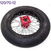 Front Wheels 120/70 12 tires 2.15 x 12inch Rims CNC Red Hub Black Wheels 32 spoke 15mm axle hole Motard Refitting Tyres
