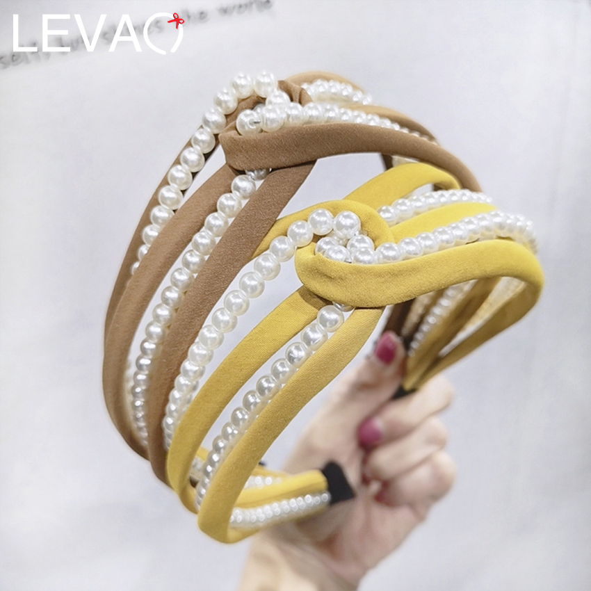 Levao Pearls Hollow Cross Headbands Hair Bands Solid Suede Hairbands Hair Hoop Bezel Knot Headband Hair Accessories For Women